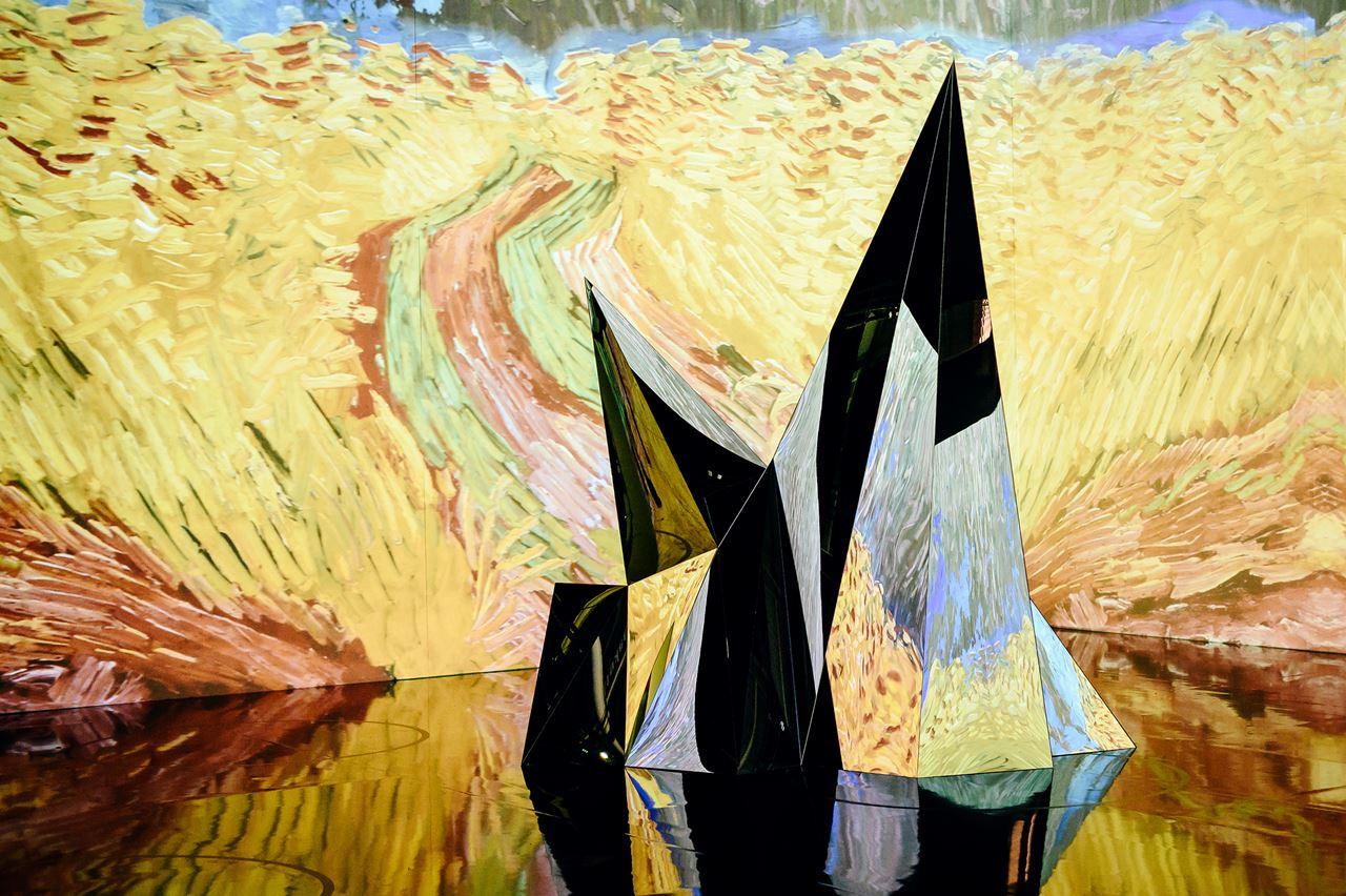 "One of David Korins's ""iceberg"" sculptures for ""Immersive Van Gogh."" MUST CREDIT: Nina Westervelt"