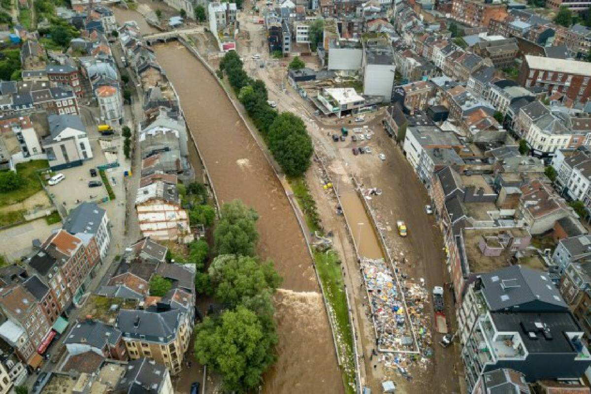 Aerial photo taken on July 16, 2021 shows a scene after floods in Verviers, Belgium.