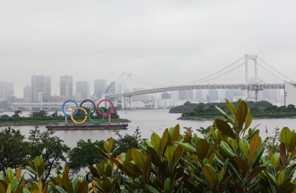 The Olympic Rings displayed at Odaiba Marine Park, Tokyo