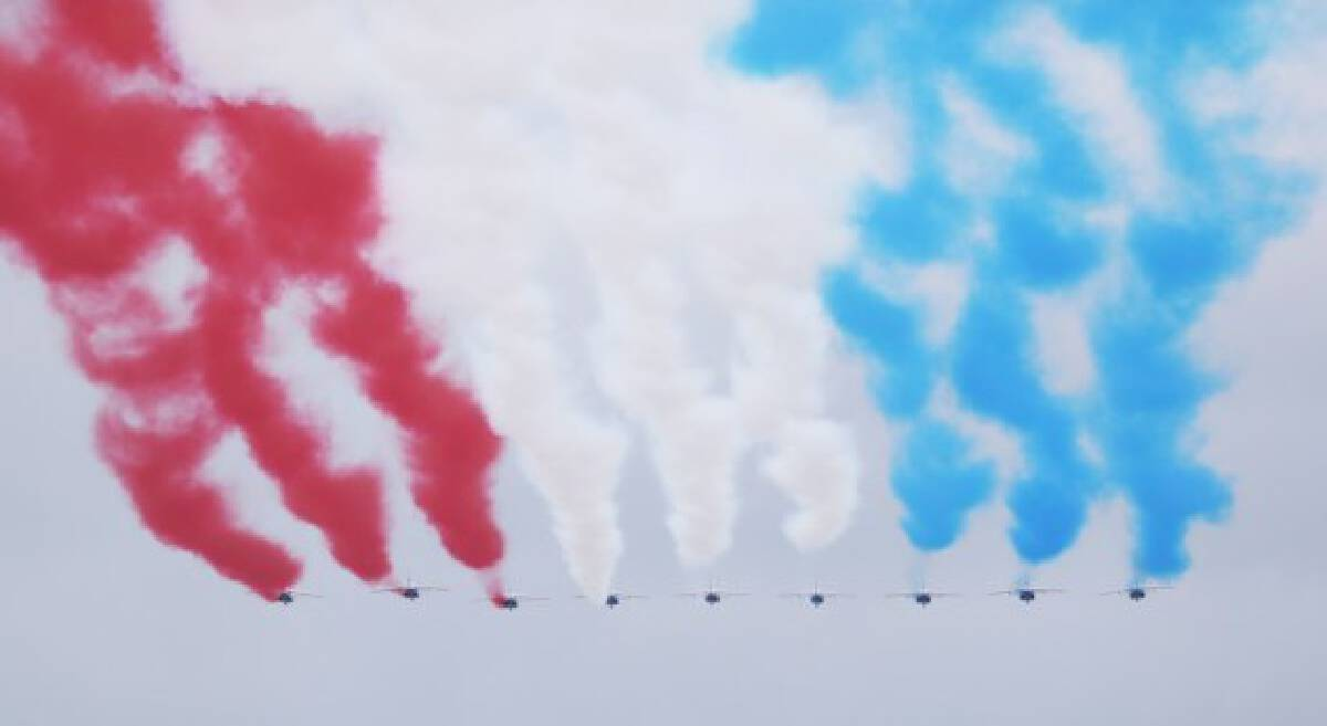 French Air Force Patrouille de France is seen during the annual Bastille Day military parade in Paris, France, July 14, 2021.