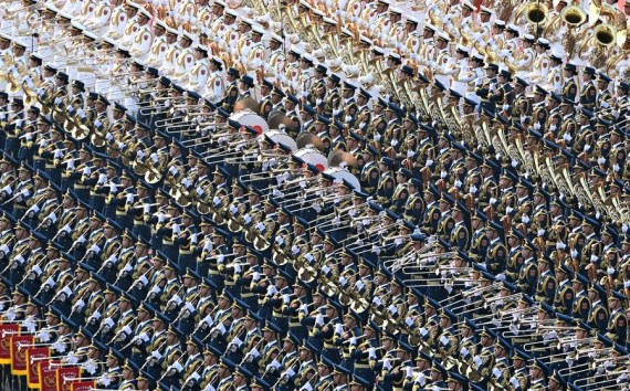 Members of the military band rehearse for a ceremony marking the centenary of the Communist Party of China (CPC) at Tian'anmen Square in Beijing, capital of China, July 1, 2021.
