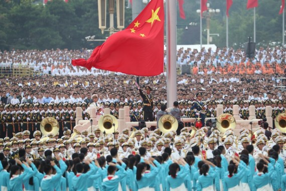 A national flag-raising ceremony is held at Tian'anmen Square during a ceremony marking the centenary of the Communist Party of China (CPC) in Beijing, capital of China, July 1, 2021