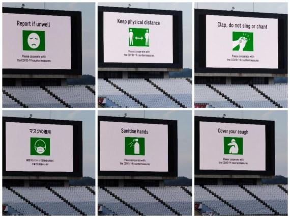 Reminders of health protocols displayed in the Miyagi Stadium during the Tokyo 2020 women's football match between China and Brazil in Miyagi, Japan,