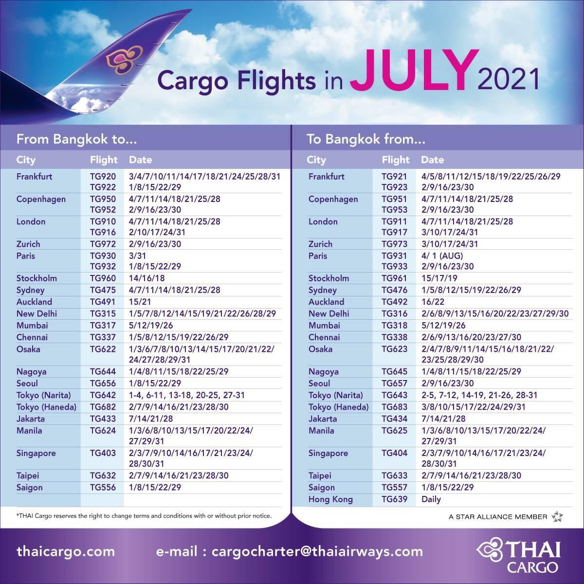 THAI ready to deliver cargo to 22 destinations in Asia, Europe, Australia