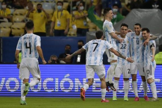 Argentina's players celebrate scoring.