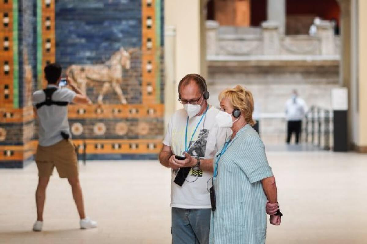 People visit the Pergamon Museum in Berlin, capital of Germany, June 4, 2021.