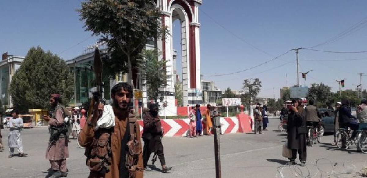 Taliban militants are seen inside the Ghazni city, eastern Afghanistan, Aug. 12, 2021.