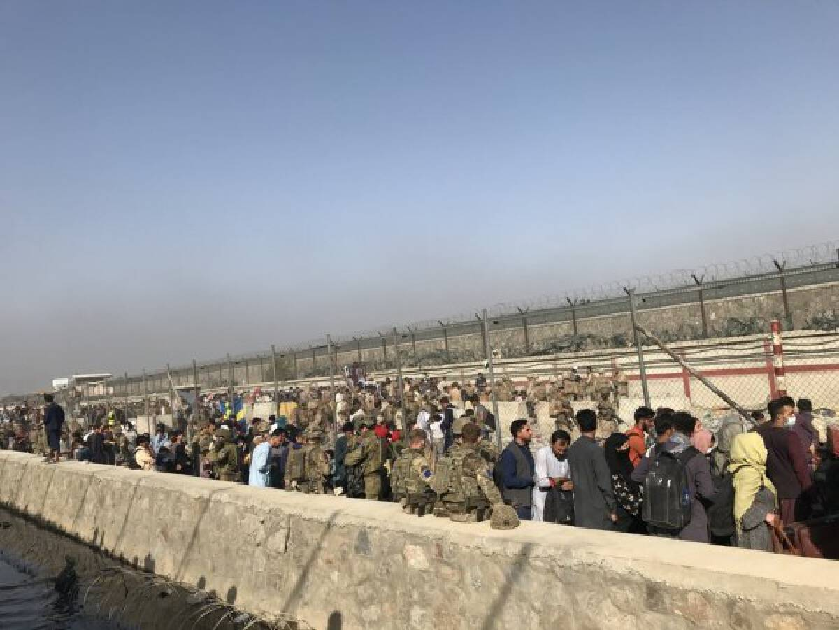 Photo taken on Aug. 22, 2021 shows foreign forces at the entering gate of Kabul airport in Kabul, Afghanistan.
