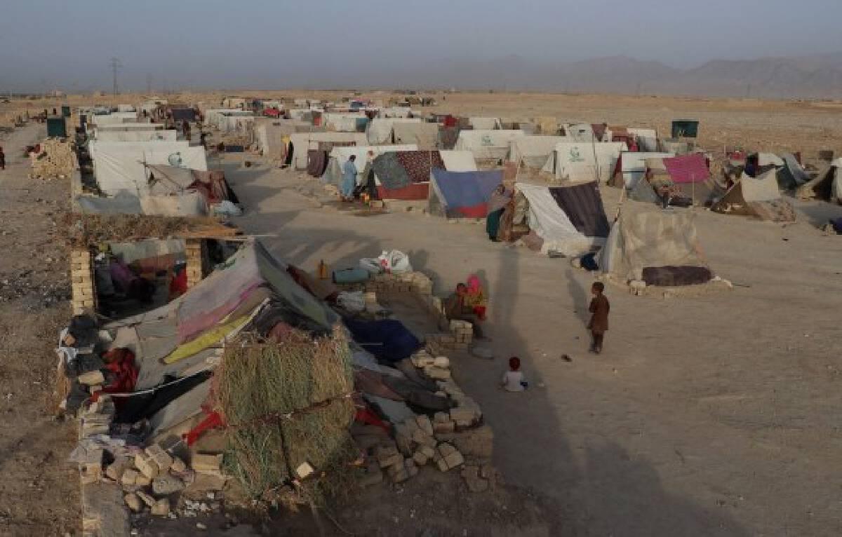 Photo taken on July 31, 2021 shows a makeshift camp site in Mazar-i-Sharif, capital of Balkh province, Afghanistan.