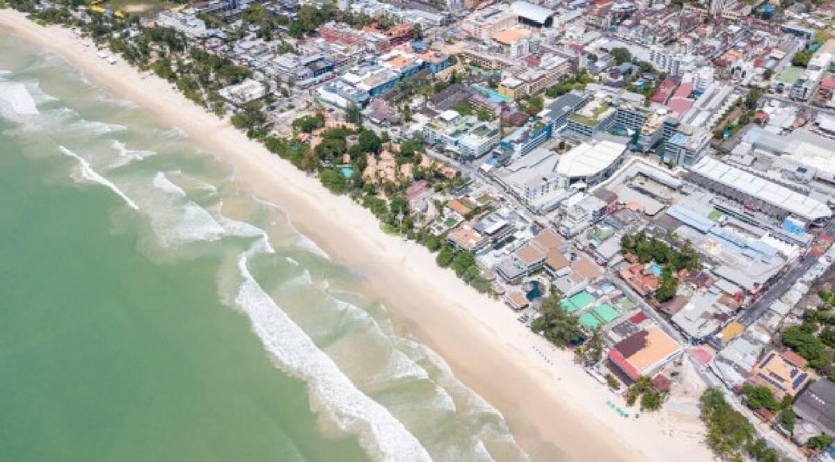 Aerial photo taken on Sept. 13, 2020 shows a beach in Phuket, Thailand.