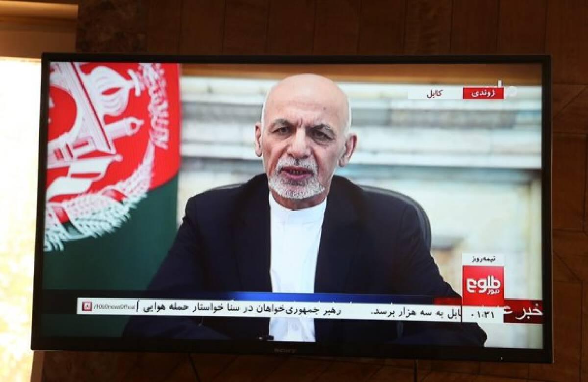 Afghan president Mohammad Ashraf Ghani speaks in a televised address in Kabul, capital of Afghanistan, Aug. 14, 2021.