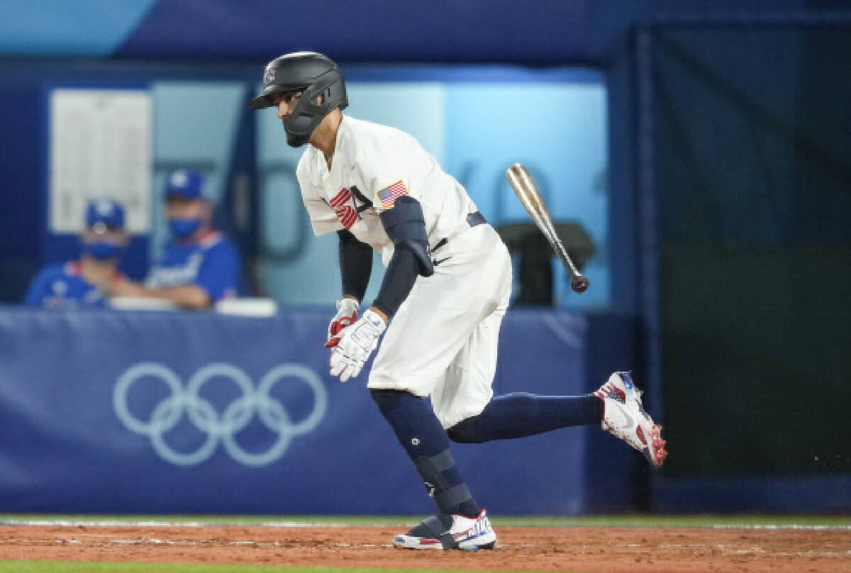 Jack Lopez of the United States competes during the baseball semifinal match between the United States and South Korea at the Tokyo 2020 Olympic Games in Yokohama, Japan, on Aug. 5, 2021.