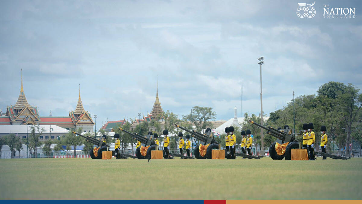 Royal Thai Armed Forces mark HM Queen Mother's birthday with 21-gun salute