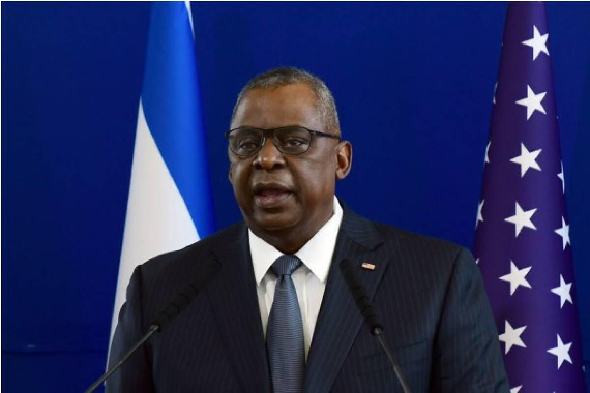 U.S. Defense Secretary Lloyd Austin attends a press conference in Tel Aviv, Israel on April 11, 2021.