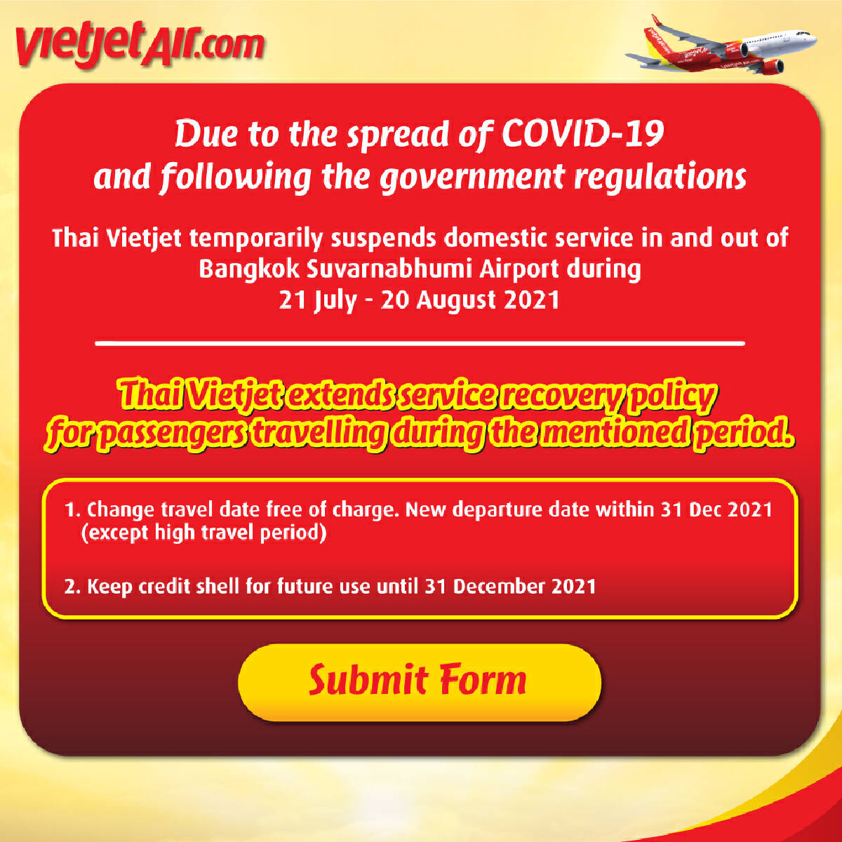 Thai Vietjet extends Support to Passengers during Travel Suspension Period