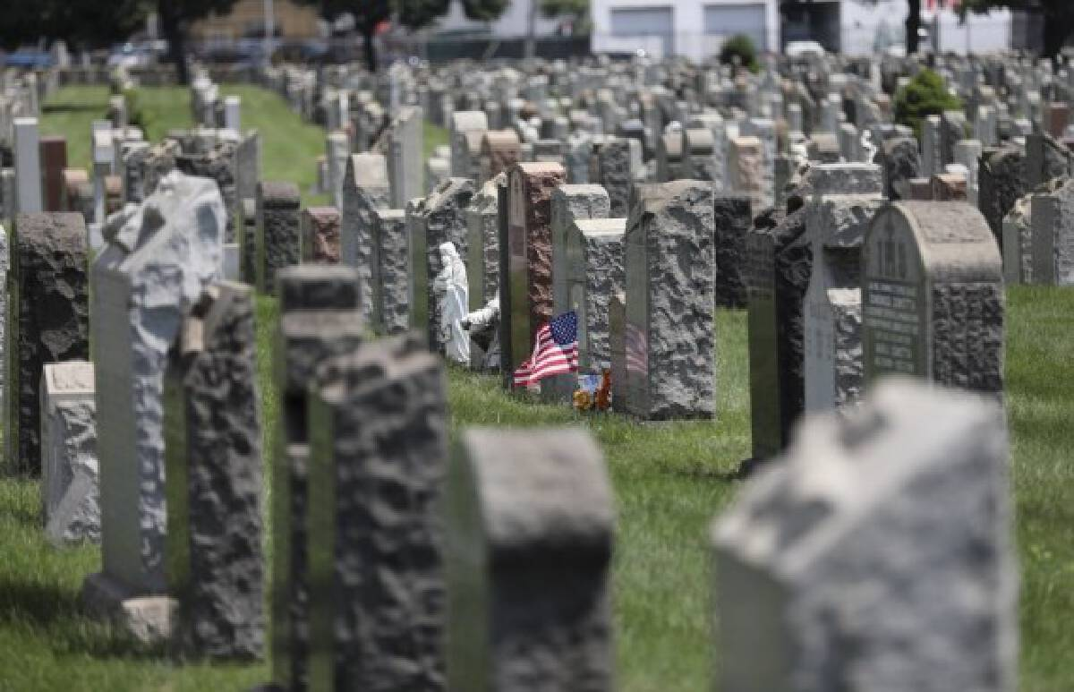 A U.S. national flag and flowers are seen at a cemetery in New York, the United States, July 29, 2020. (Xinhua/Wang Ying)