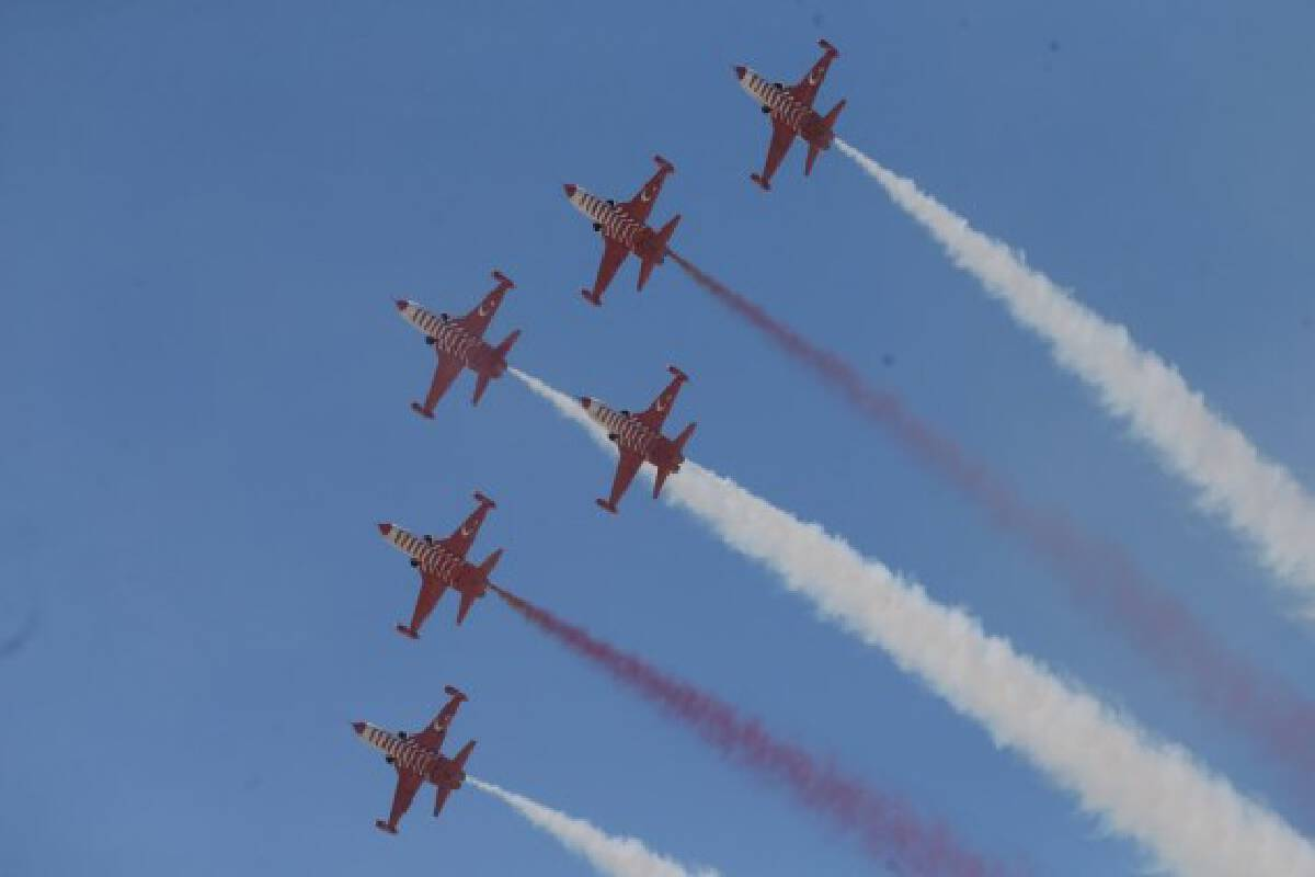 Aircraft perform during the Sivrihisar Airshow 2021 in Sivrihisar district of Eskisehir in Turkey, on Sept. 12, 2021.