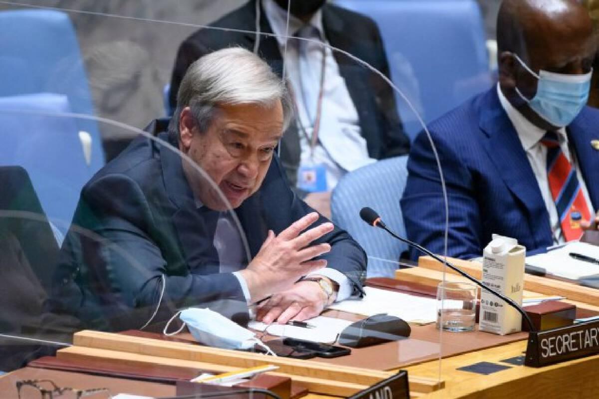 United Nations Secretary-General Antonio Guterres addresses the Security Council meeting on Ethiopia at the UN headquarters in New York, Oct. 6, 2021. (Loey Felipe/UN Photo/Handout via Xinhua)