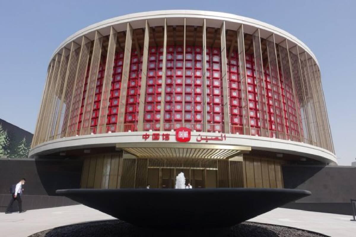 Photo taken on Sept. 29, 2021 shows the China Pavilion of Expo 2020 Dubai in Dubai, the United Arab Emirates. The China Pavilion, one of the largest pavilions at Expo 2020 Dubai, opens on Oct. 1, 2021. (Xinhua/Yan Jing)