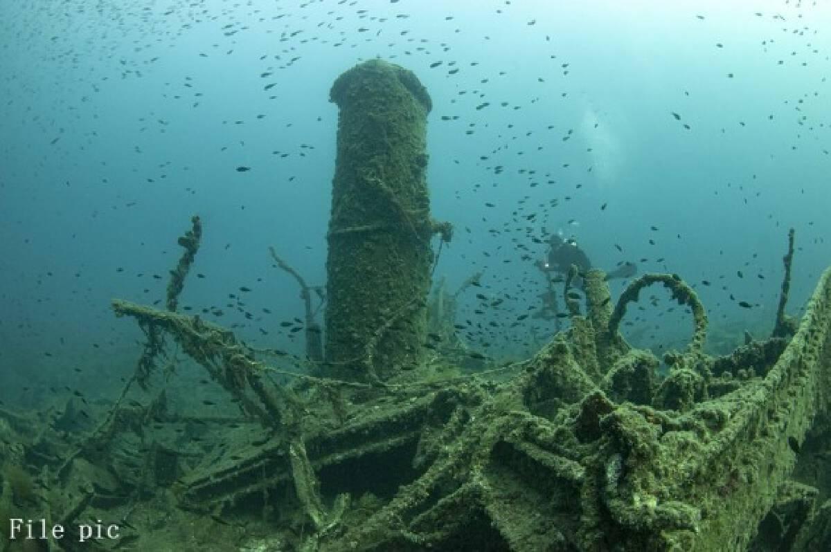 File pic taken in September 2011 shows shipwrecks of World War I at the Gallipoli Historical Underwater Park in Canakkale province, Turkey. (Gallipoli Historical Underwater Park/Handout via Xinhua)