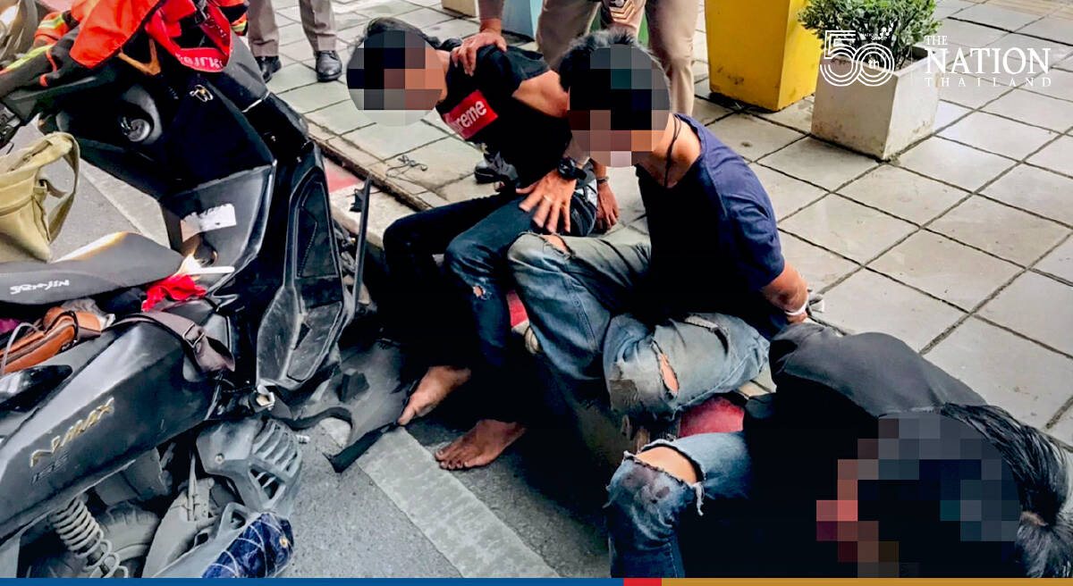Three held for allegedly lobbing bomb at police car