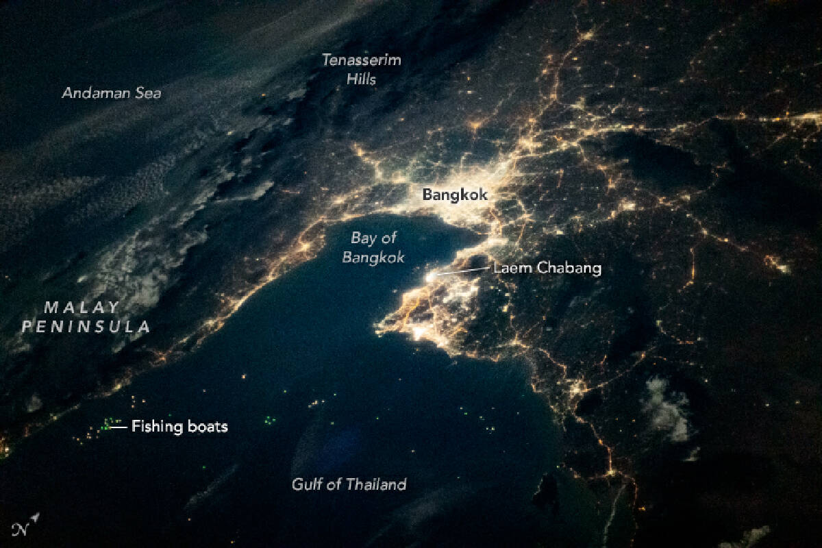 A dazzling view of Bangkok from space